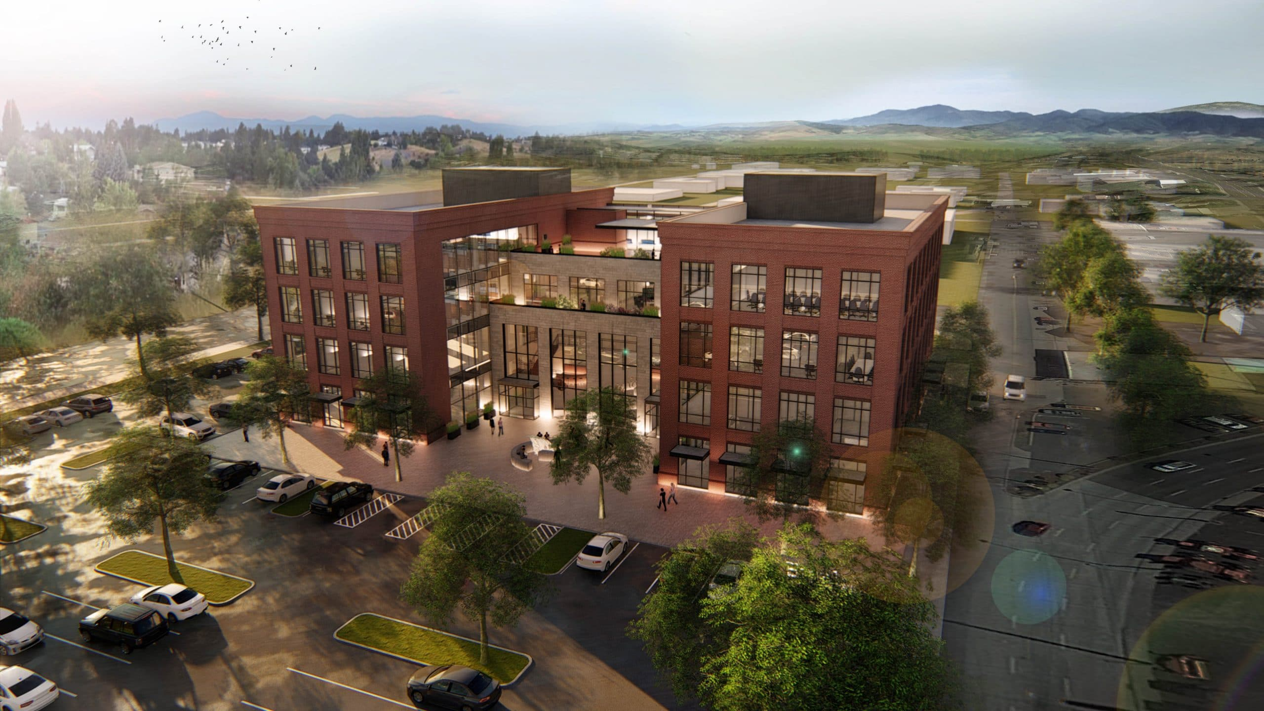 Aerial view looking Northwest of Emsi's new headquarters building