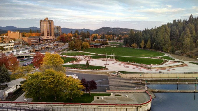 Arial shot shows the Coeur d'Alene golf course right on the water in downtown Coeur d'Alene. Photo: Tim Hagen, EMSI